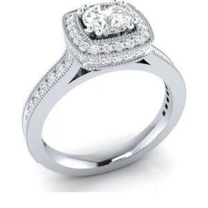 925 Silver Ring Round Cut White Sapphire